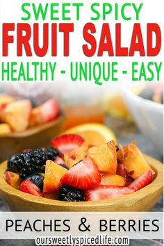 Fruit Salad with Honey Orange Sriracha Dressing: Make up this easy fruit salad recipe and enjoy a wonderful summer fruit side dish! Made with a honey orange sriracha dressing, this fruit salad idea is sure to be a hit with the family and at parties. Perfect for summer grilling meals, this fruit salad homemade is a spicy fruit salad and a fresh fruit side dish. Peaches, strawberries, blueberries, and blackberries combine for a delicious healthy side dish. Healthy fruit recipe #fruitsalad Homemade Fruit Salad, Creamy Fruit Salads, Healthy Fruit Snacks, Summer Salads With Fruit, Fruit Salad Recipes, Fresh Fruit, Healthy Side Dishes, Side Dish Recipes, Blueberry Salad