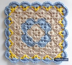 MyPicot is always looking for excellence and intends to be the most authentic, creative, and innovative advanced crochet laboratory in the world. Crochet Afghans, Crochet Square Blanket, Crochet Baby Blanket Free Pattern, Granny Square Crochet Pattern, Crochet Stitches Patterns, Crochet Squares, Crochet Motif, Free Crochet, Knitting Patterns