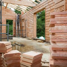 Brikawood House Interior | Life-Sized Lincoln Logs: Wooden Bricks Make Building a House Crazy Easy