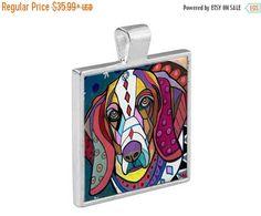 55% Off Today- Basset Hound Dog Folk Art Jewelry - Pendant Metal Gift Art Heather Galler Gift- Dog Lovers Abstract Modern Memorial Gift Ve