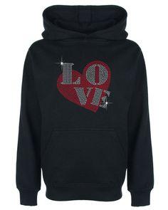 Love and Heart Rhinestone/Diamante Kids' Hoodie 3 to 13 Years Gift #GuildenFDMFruitOfTheLoomorequivalent #Hoodie