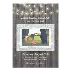 Rustic String Lights Barn Wood Photo Wedding Card