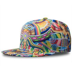 287e6b579be 2017 Snapback Gorras Hat Bon Flat Brimmed Baseball Cap Fashion 3D Print  Adjustable Hater Raiders Hip hop Trucker Bone Caps