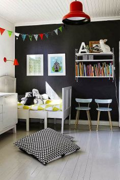 the boo and the boy: eclectic kids' rooms Love the big pillows in the floor...good for book nook