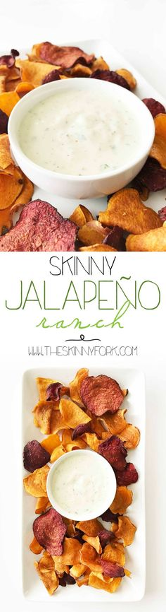 This Skinny Creamy Jalapeño Ranch is a take-out fake-out knock-off that is just as tasty and way better for you than the one from Chuy's! Load it up on salad, dip your chips, or just spoon it in. Haha! http://TheSkinnyFork.com | Skinny & Healthy Recipes