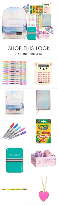 """""""School ☼"""" by rainbowsnowcone ❤ liked on Polyvore featuring interior, interiors, interior design, home, home decor, interior decorating, JanSport, Kate Spade, Sharpie and Happy Jackson"""