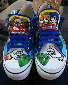 7a5def2493ad Custom Painted Sonic the Hedgehog Sneakers for Sidewalk Spin-Dashes Sonic  Birthday Parties