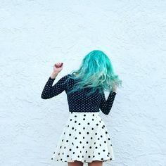 turquoise blue hair & polka dots