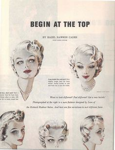 Begin at the top - vintage hairstyle ideas from 1953. #vintage #1950s #hair
