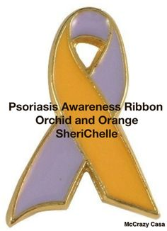 I've Living been living with Psoriasis since 1976. First diagnosed as a small child, just after having Strep.  Psoriasis Awareness Ribbon is Orchid and Orange. SheriChelle
