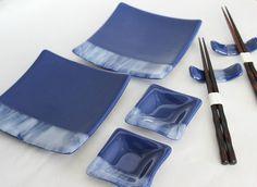 FUSED GLASS SUSHI Set - Indigo Blue Fused Glass Sushi Set with Chopsticks, Tableware, Sushi Dishes, Valentines, Wedding Gift, Kitchenware