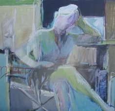 "Seated Figure by Dru Scott Warmath Oil ~ 40"" x 40"""