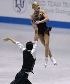 Tatiana Volosozhar & Maxim Trankov of Russia perform in pairs short at  ISU World Team Trophy April 12, 2013