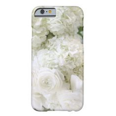 White ranunculus flowers with hydrangeas barely there iPhone 6 case #iPhone6case, #whiteflowers, #prettyiPhone6case