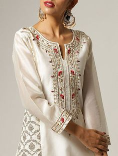 Tops For Women sky blue shirt disney shirts for women Hand Embroidery Dress, Kurti Embroidery Design, Embroidery Fashion, Indian Designer Outfits, Indian Outfits, Kurta Designs, Blouse Designs, Kurta Neck Design, Embroidered Silk