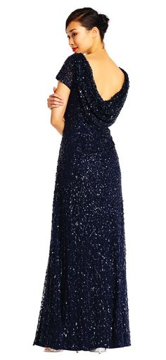 be71288d9b Short Sleeve Sequin Beaded Gown with Cowl Back. Blue Bridesmaid Dresses ...