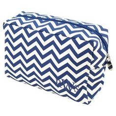 "Chevron-print spa bag in navy with corner monogram.  Product: Spa bagConstruction Material: MicrofiberColor: NavyDimensions: 6"" H x 8.5"" W x 3.75"" DNote: Please type letters in the order you would like them to appear"