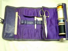Purple antique sewing kit with bone items. Sewing Kit, Sewing Tools, Embroidery Tools, Quilting Tools, Needle Book, Sewing Accessories, Pincushions, Or Antique, Vintage Sewing