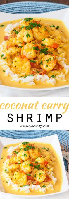 "Coconut Shrimp Curry - Serve with Cauliflower ""Rice"" and coconut oil to make Paleo!"