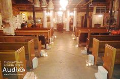 Isn't this a gorgeous space for a wedding ceremony? It's not a church! It's Salvage One, on Chicago's Near West Side. Solid pews, rescued from an old church, provide a grand setting from which to launch your new marriage. And Fourth Estate Audio can provide ceremony music and microphones, as well as great dinner and dance music. http://www.discjockey.org  #chicagoweddingdj  #chicagodj