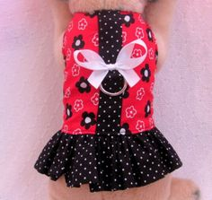 XSmall Custom Dog Harness Dress Outfit Clothes Black Red Polka Dots Flowers | eBay