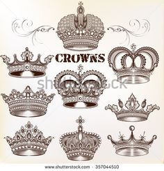 Collection of vector vintage crown design elements in engraved style