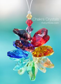 Mini Chakra Crystal Cluster: Inspirational art for your window | Robyn Nola Inspirational Gifts, Positive Affirmation Gifts, Inspirational Quotes, Color Therapy Gifts