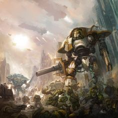 """inoxhammer: """"Imperial Knights vs Orks by faroldjo http://faroldjo.deviantart.com/art/Imperial-Knights-vs-Orks-607292109 My Etsy Shop: https://www.etsy.com/shop/InoxHammer"""""""