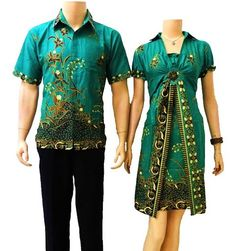 Dress batik couple modern hijau Batik Couple, Batik Dress, African Attire, Kebaya, Ethnic Fashion, Men Casual, Short Sleeve Dresses, Couture, Couples