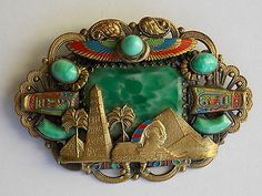 RARE 1930s Art Deco Neiger Brothers Egyptian Revival Czech Brooch Book Piece