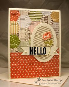 """Sets: Oh, Hello   Colors: Very Vanilla, Staz On TM Black, Lucky Limeade, Calypso Coral   DSP: Tea for Two (2013 Spring Catalog)   Embellishments: Basic Pearls   Punches: 1"""" Square (for Flag)   Big Shot: Honeycomb Textured Impressions TM Embossing Folder, Ovals Collection Framelits"""