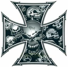 Grey Skull Ironcross Color Decal, Skull and Crossbones decals . Cross Tattoo Designs, Skull Tattoo Design, Skull Tattoos, Skull Stencil, Badass Skulls, Totenkopf Tattoos, Skull Pictures, Skull Artwork, Skeleton Art