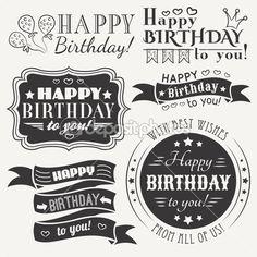 colección de tarjetas de felicitación de feliz cumpleaños en el diseño de vacaciones — Ilustración de stock #51121575