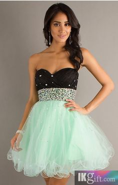 Short Strapless Two Tone Babydoll Dress - HomeComing Dresses - Special Occasion Dresses - Wedding & Events