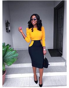 Fervor New York City NY Professional Outfit for Women Office Wear Work Clothes Business Professional Wardrobe Bright Beautiful Yellow Black Corporate Attire Women, Corporate Outfits, Business Casual Outfits, Business Attire, Office Outfits, Office Uniform, Casual Office, Office Style, Work Casual