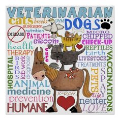 Veterinarian-Subway Art Vet Terms Poster