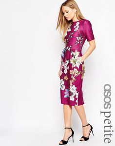 ASOS PETITE Textured Wiggle Dress with Split Front in Floral Print