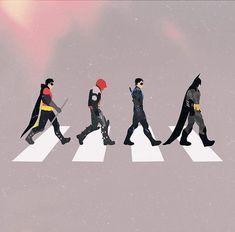 《The Bat Family / Abbey Road / Batman, Nightwing, Red Hood and Robin》 Marvel Vs, Marvel Dc Comics, Nightwing Wallpaper, Batman History, Star Trek, Gotham Villains, Batman Universe, Dc Universe, Im Batman