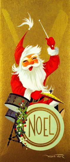 CA Artists Frans Van Santa Plaing Drums Rock n Roll Vintage Christmas Card in Collectibles, Paper, Vintage Greeting Cards Vintage Christmas Images, Vintage Holiday, Christmas Pictures, Santa Pictures, Holiday Images, Antique Christmas, Illustration Noel, Christmas Illustration, Illustrations
