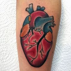 Guys Heart Tattoo On Forearm In Neo Traditional Style