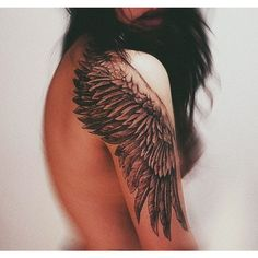 (2) wing tattoo on the shoulder. looks gorgeous | Tattoos and Trends |... ❤ liked on Polyvore featuring accessories, body art and tattoos