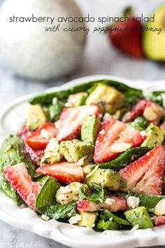 I am sharing with you today my favorite salad in the whole entire world.  Now that is saying a lot.   This is my go-to salad for any gathering and is requested every time!  The fresh strawberries and avocado help to make this salad delicious.  But it is the creamy poppyseed dressing on the top …