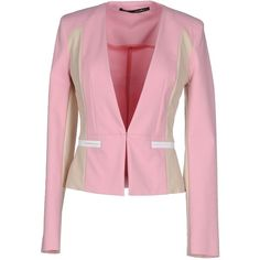 Annarita N. Blazer ($215) ❤ liked on Polyvore featuring outerwear, jackets, blazers, pink, patterned blazer, pocket jacket, single breasted jacket, print blazer and pink jacket