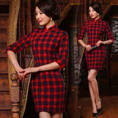 Shop elegant silk cheongsam, traditional Chinese red bridal dresses, sexy modernize Qipao from www.ModernQipao.com. Save 6% by share our products. Dark blue and red plaid cotton traditional casual cheongsam