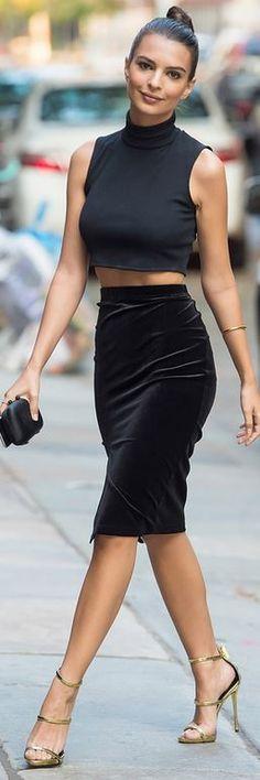 Emily Ratajkowski: Ring – Alison Lou Shirt – Tanya Taylor Shoes – Zanotti Skirt – Primark