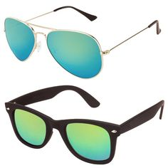 c93fbe725ae35 Buy jazz Style Combo of 2 Wayfarer  amp  Aviator Sunglasses Online at Low  prices in