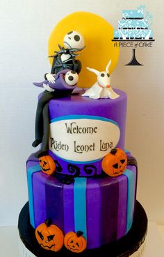 Nightmare Before Christmas baby shower cake by A Piece of Cake, topper by Lucy Cake Design