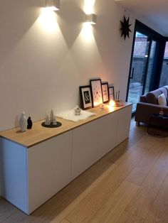 Wooden tray on the buffet besta - - Interior Design ♡ Wohnklamotte - # Living Room Designs, Living Room Decor, Best Buffet, Wood Buffet, Ikea Buffet, Sweet Home, Muebles Living, Best Ikea, Home And Living