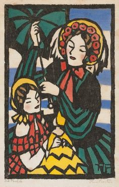 "Thea Proctor (Australian, 1879 – - ""La poupée"" - Woodcut, printed in black ink, hand-coloured on thin cream laid paper Art Deco Illustration, Illustrations, Stamp Carving, Arts And Crafts Movement, Australian Artists, French Art, Hand Coloring, Art Deco Fashion, Printmaking"
