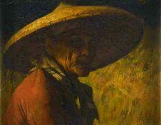 'Portrait of a Man in a Straw Hat' - F. Amorsolo Manila 1928 (oil on canvas board x Philippine Art, Chinese Man, Canvas Board, Cool Hats, New Artists, Oil On Canvas, Auction, Fine Art, Portrait